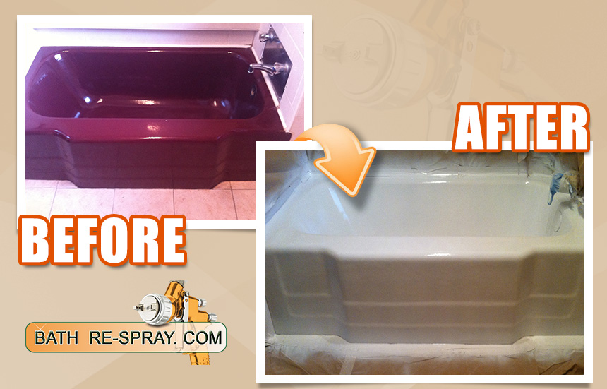 Burgandy bath resurfacing to white
